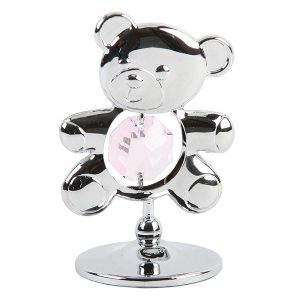 Crystocraft Chrome Plated Bear with Swarovski Crystal - Pink